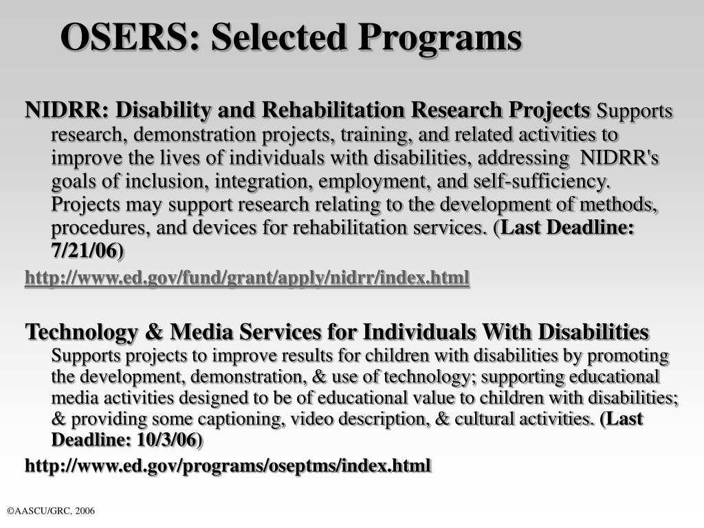 OSERS: Selected Programs