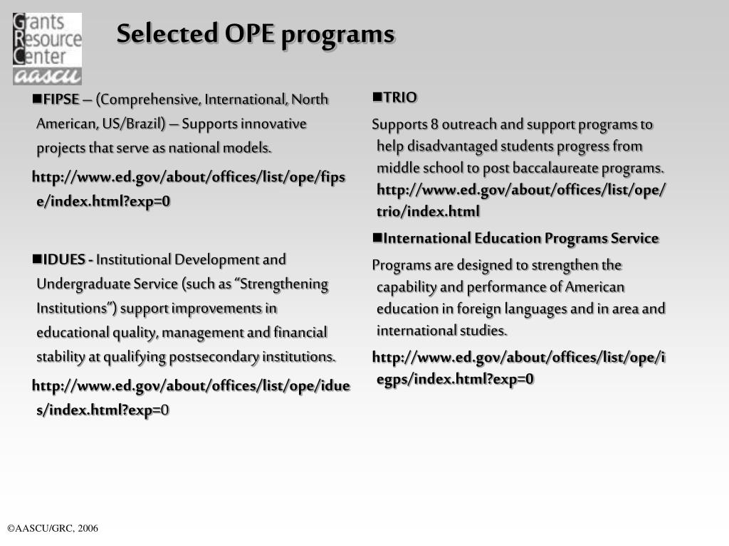 Selected OPE programs