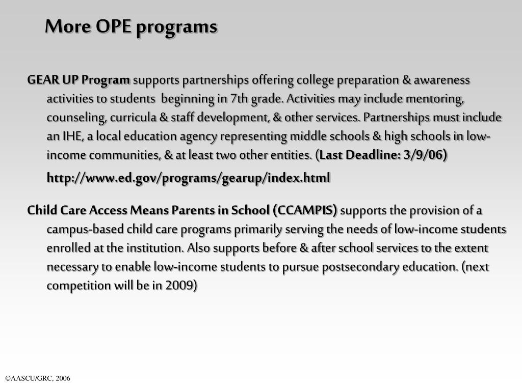 More OPE programs
