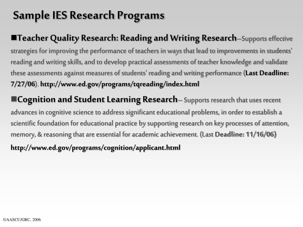 Sample IES Research Programs