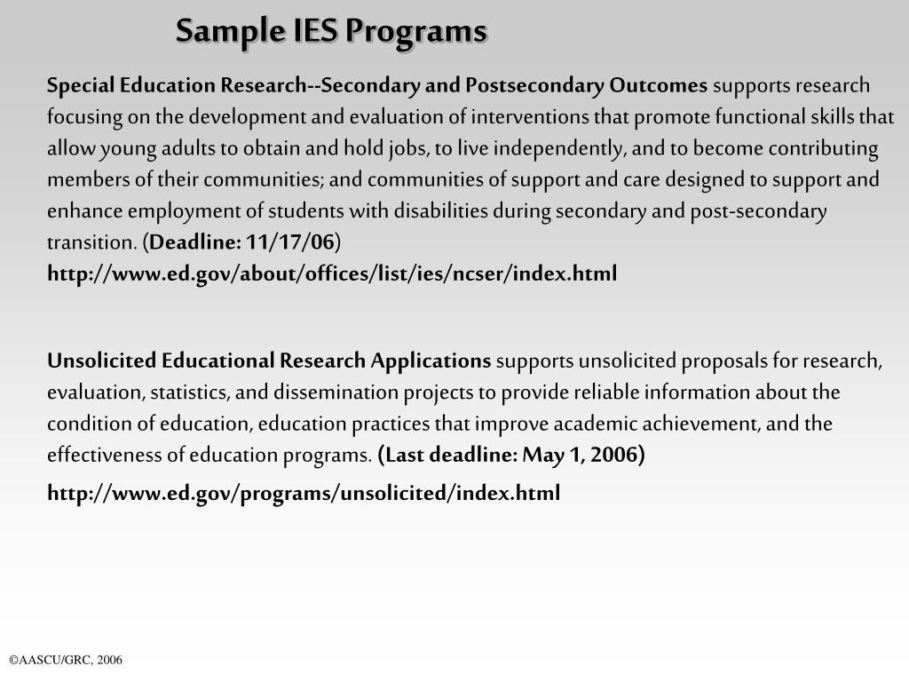 Sample IES Programs
