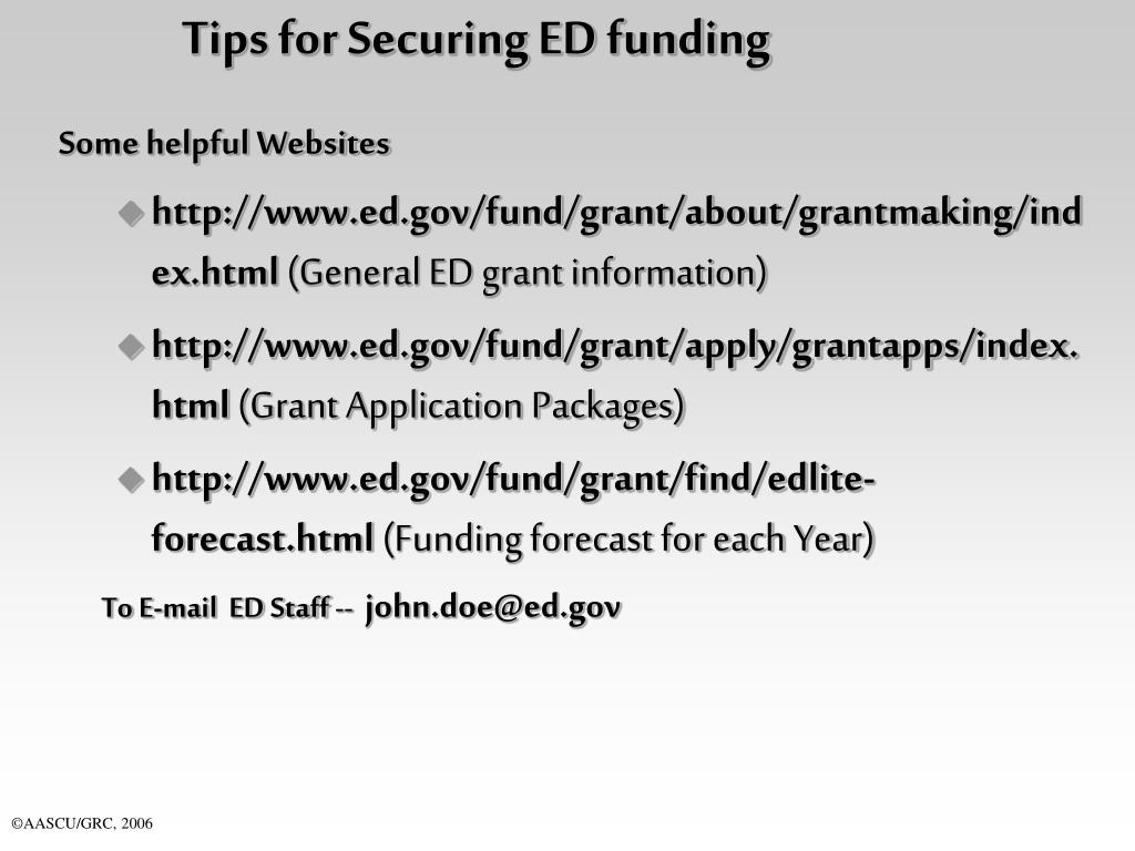 Tips for Securing ED funding