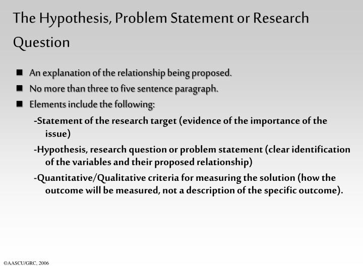 The hypothesis problem statement or research question