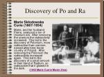 discovery of po and ra