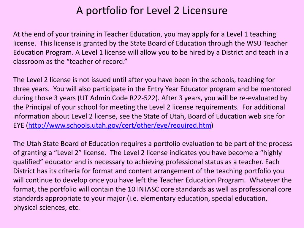 A portfolio for Level 2 Licensure