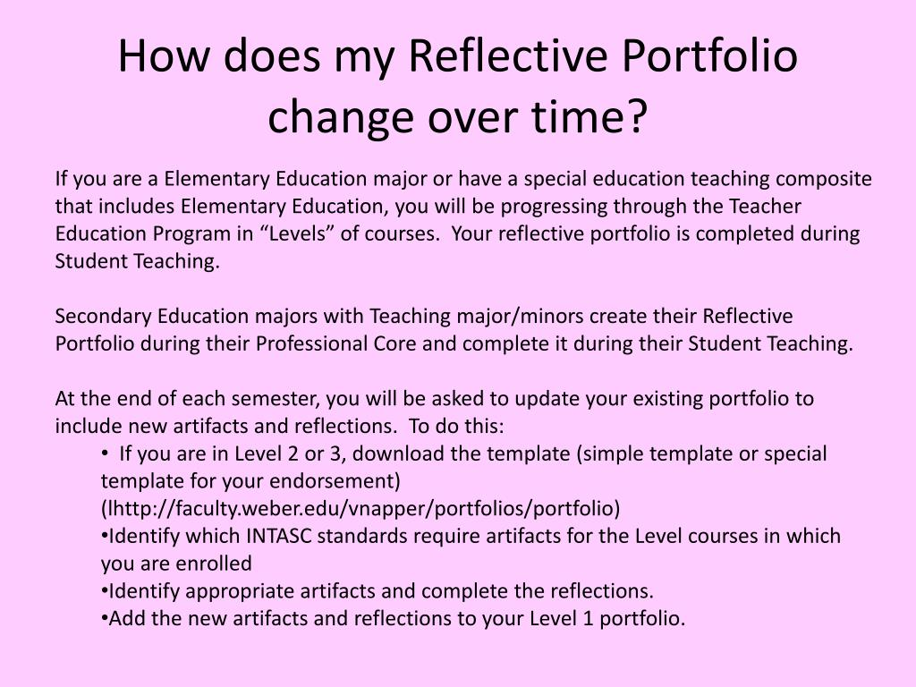 How does my Reflective Portfolio change over time?