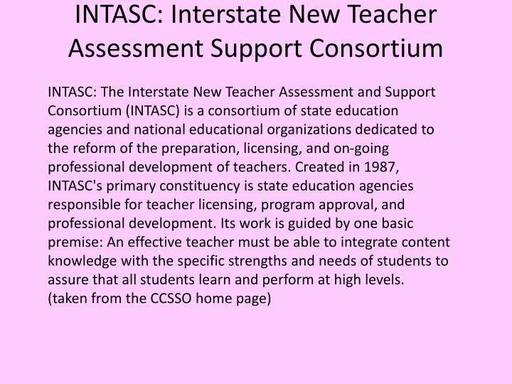 Intasc interstate new teacher assessment support consortium