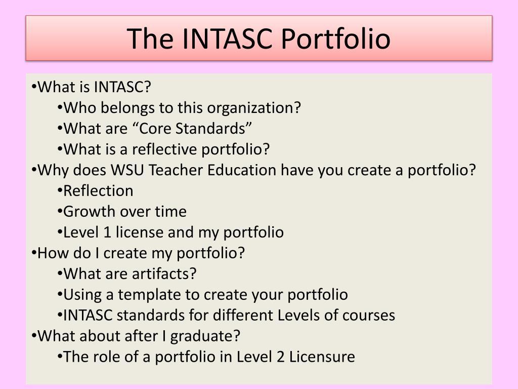 The INTASC Portfolio