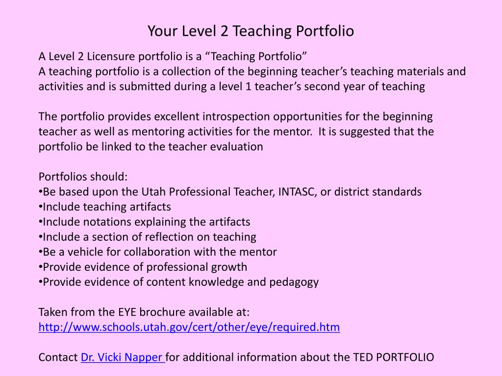 Your Level 2 Teaching Portfolio