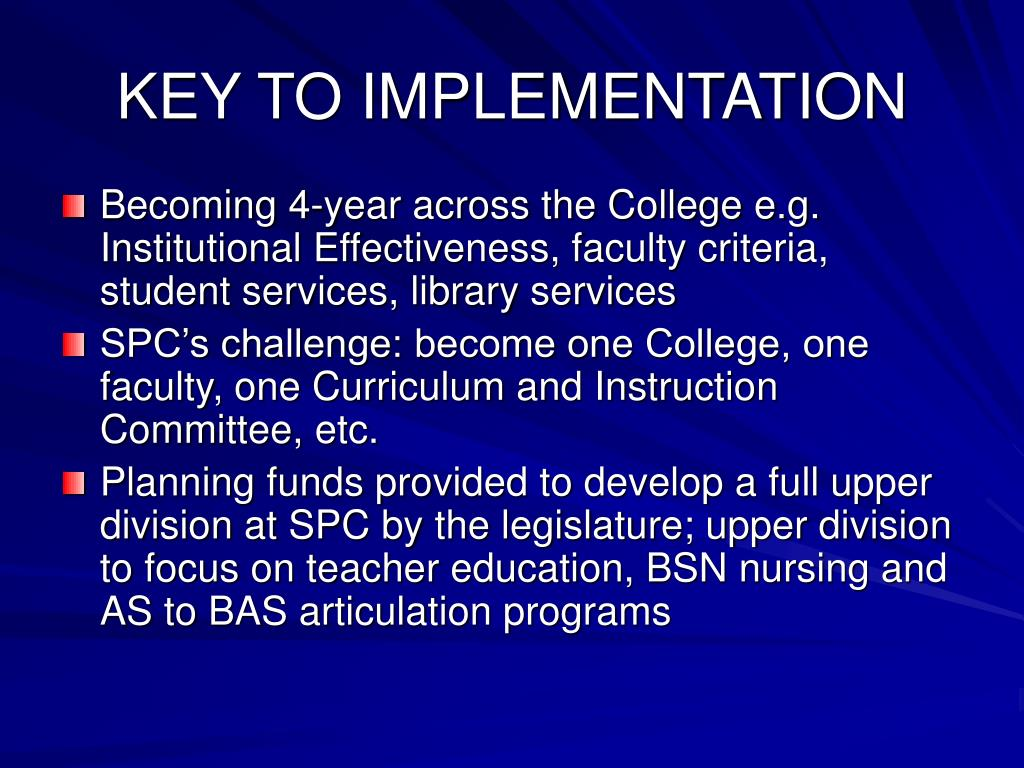 KEY TO IMPLEMENTATION