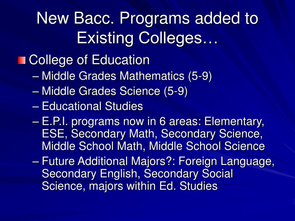 New Bacc. Programs added to Existing Colleges…