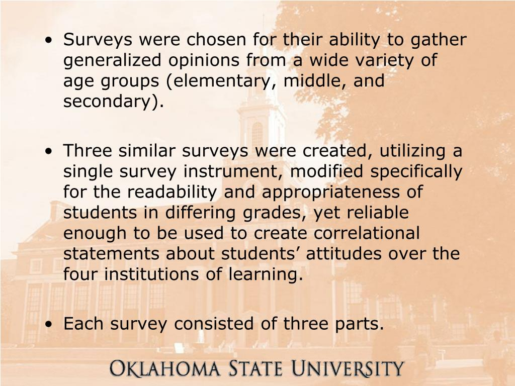 Surveys were chosen for their ability to gather generalized opinions from a wide variety of age groups (elementary, middle, and secondary).