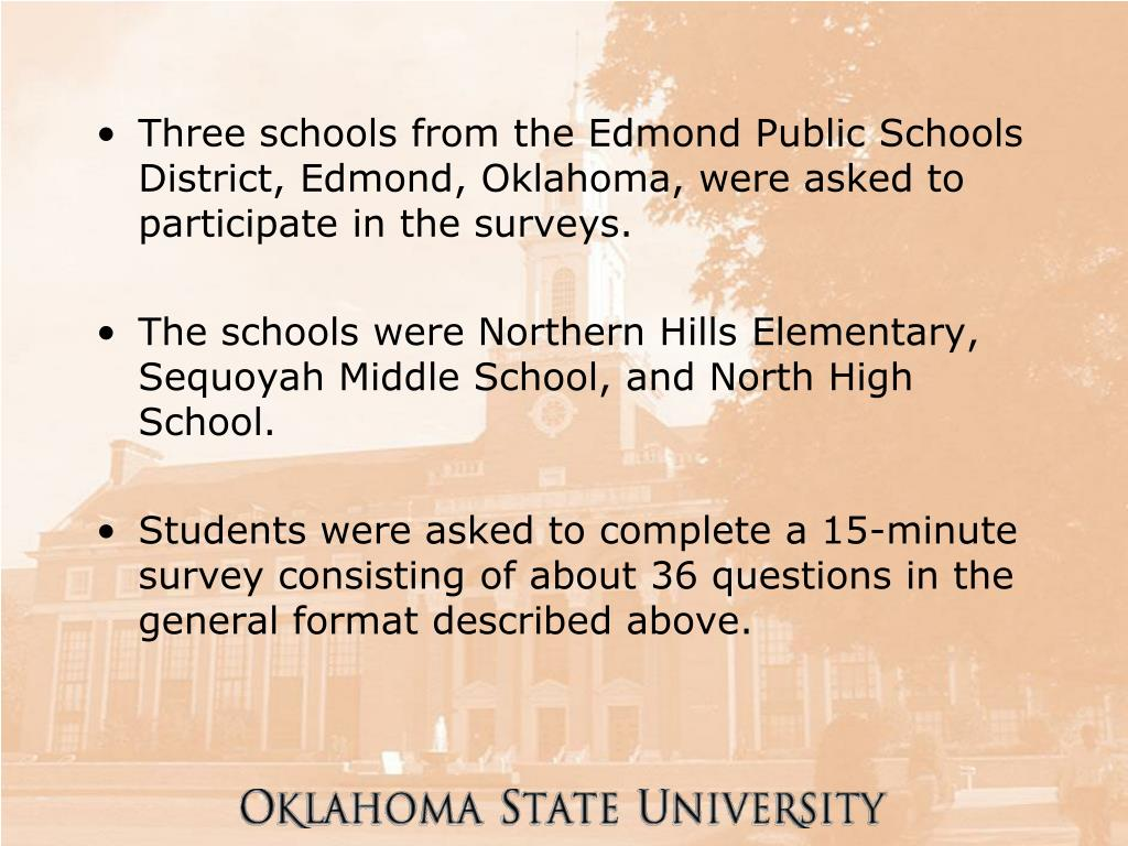 Three schools from the Edmond Public Schools District, Edmond, Oklahoma, were asked to participate in the surveys.