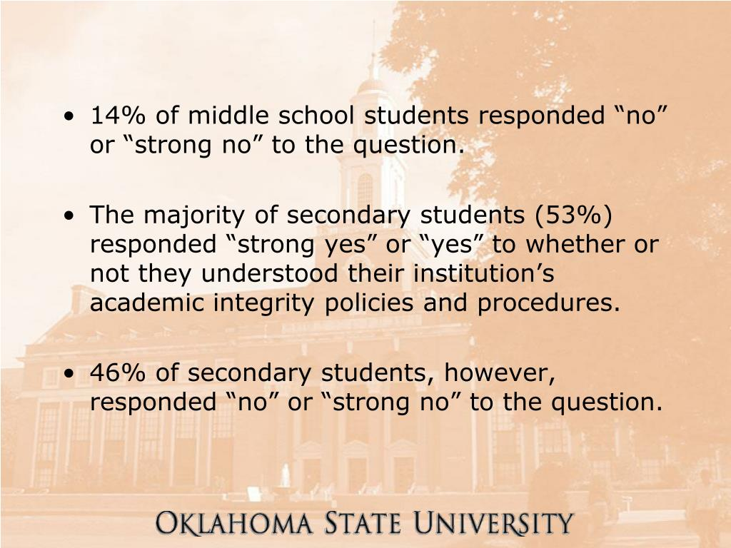"14% of middle school students responded ""no"" or ""strong no"" to the question."