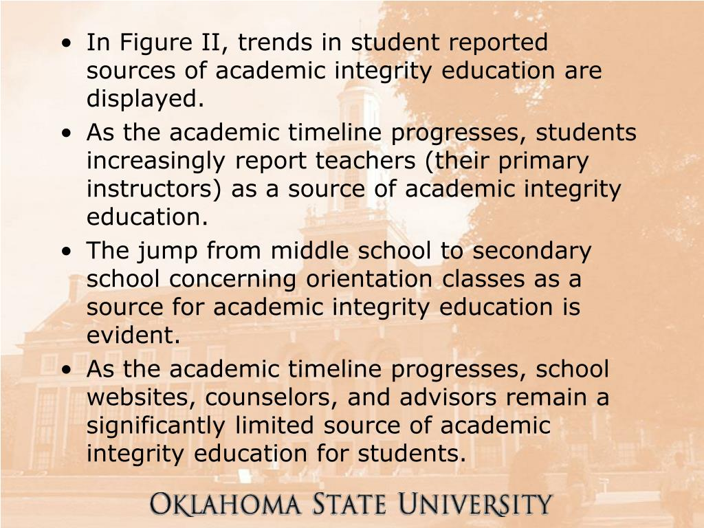 In Figure II, trends in student reported sources of academic integrity education are displayed.