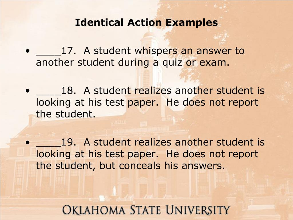 Identical Action Examples