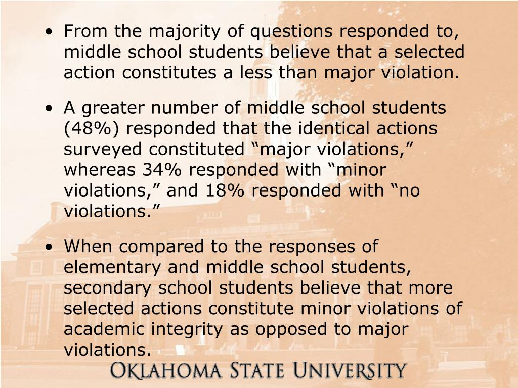 From the majority of questions responded to, middle school students believe that a selected action constitutes a less than major violation.
