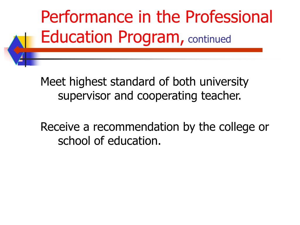 Performance in the Professional Education Program,