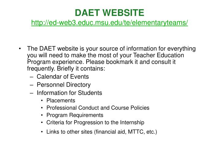 Daet website http ed web3 educ msu edu te elementaryteams