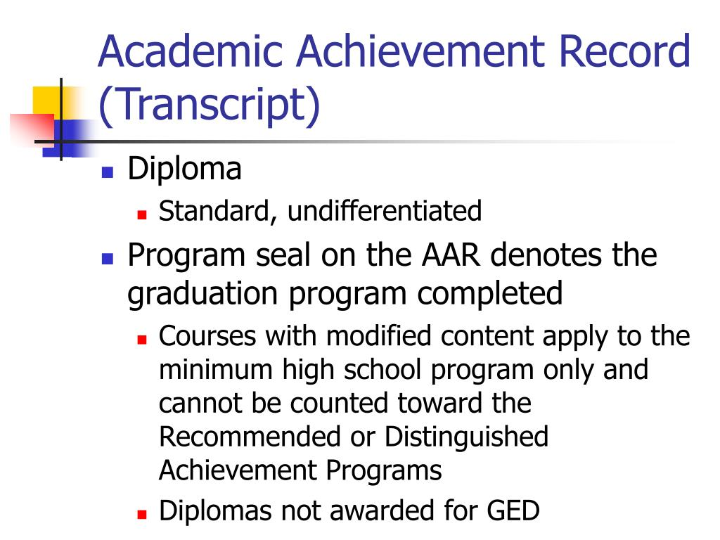 Academic Achievement Record