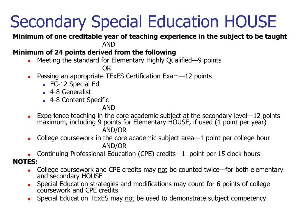 Secondary Special Education HOUSE