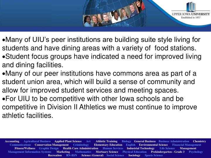 Many of UIU's peer institutions are building suite style living for students and have dining areas...