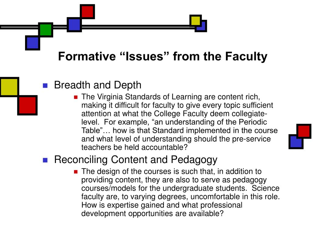 "Formative ""Issues"" from the Faculty"