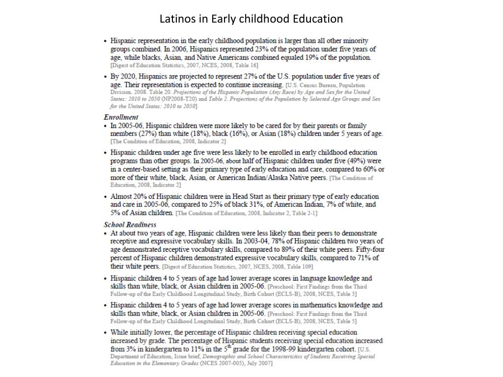 Latinos in Early childhood Education