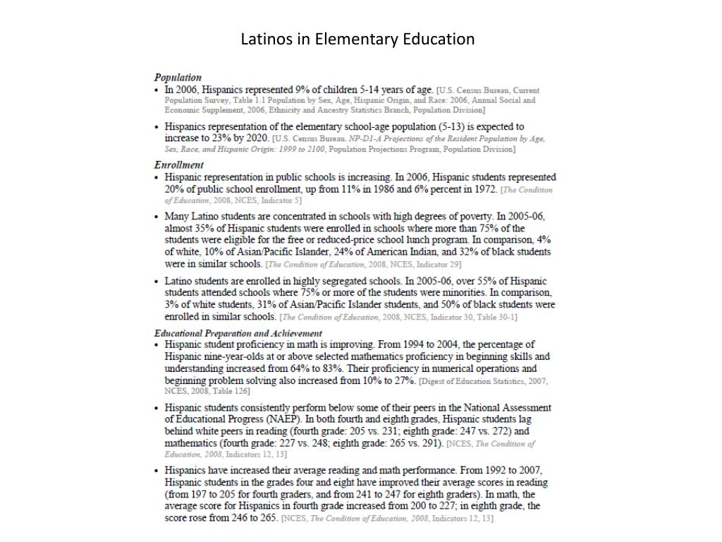 Latinos in Elementary Education