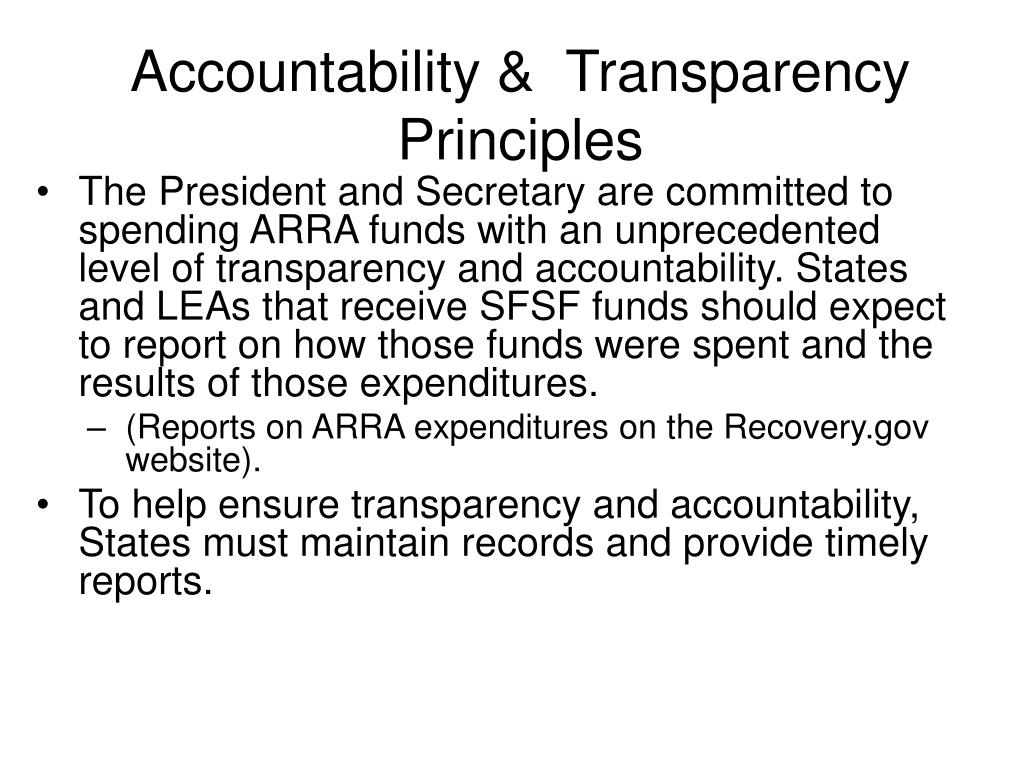 Accountability &  Transparency Principles