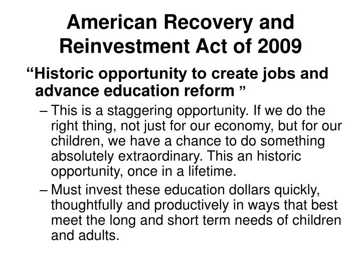 American recovery and reinvestment act of 20092