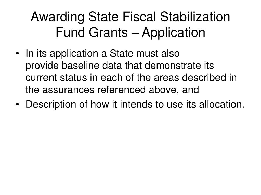 Awarding State Fiscal Stabilization Fund Grants – Application