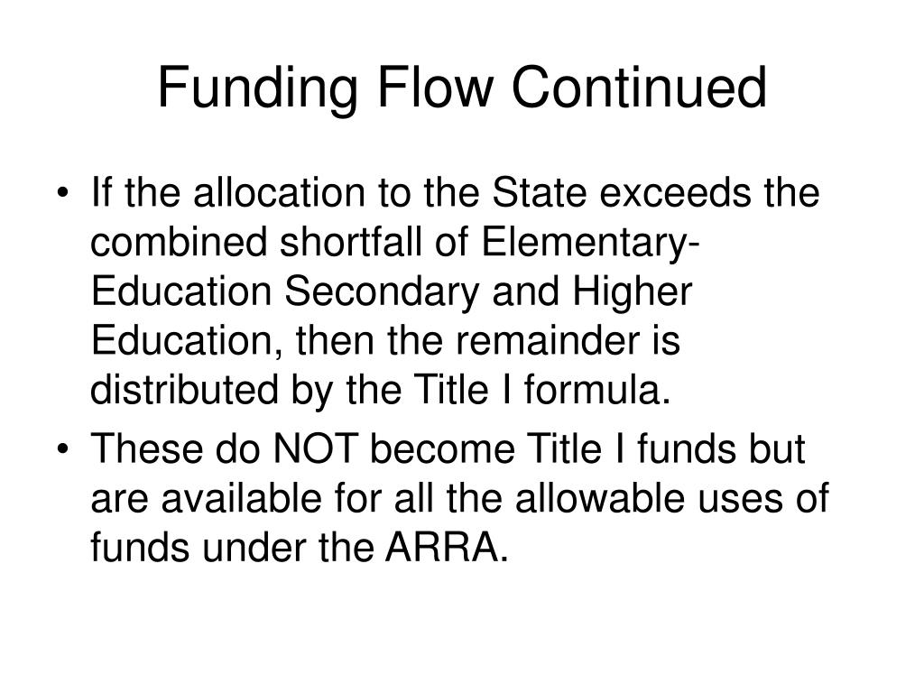Funding Flow Continued