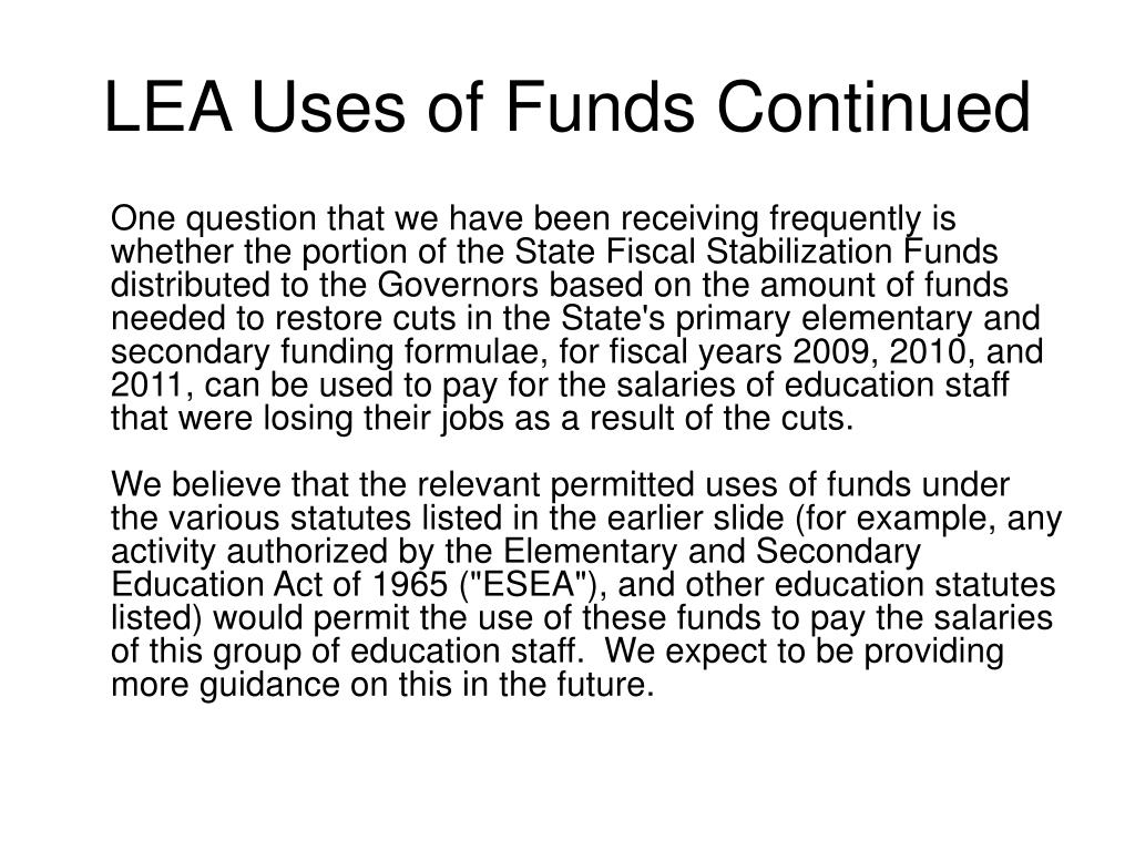 LEA Uses of Funds Continued