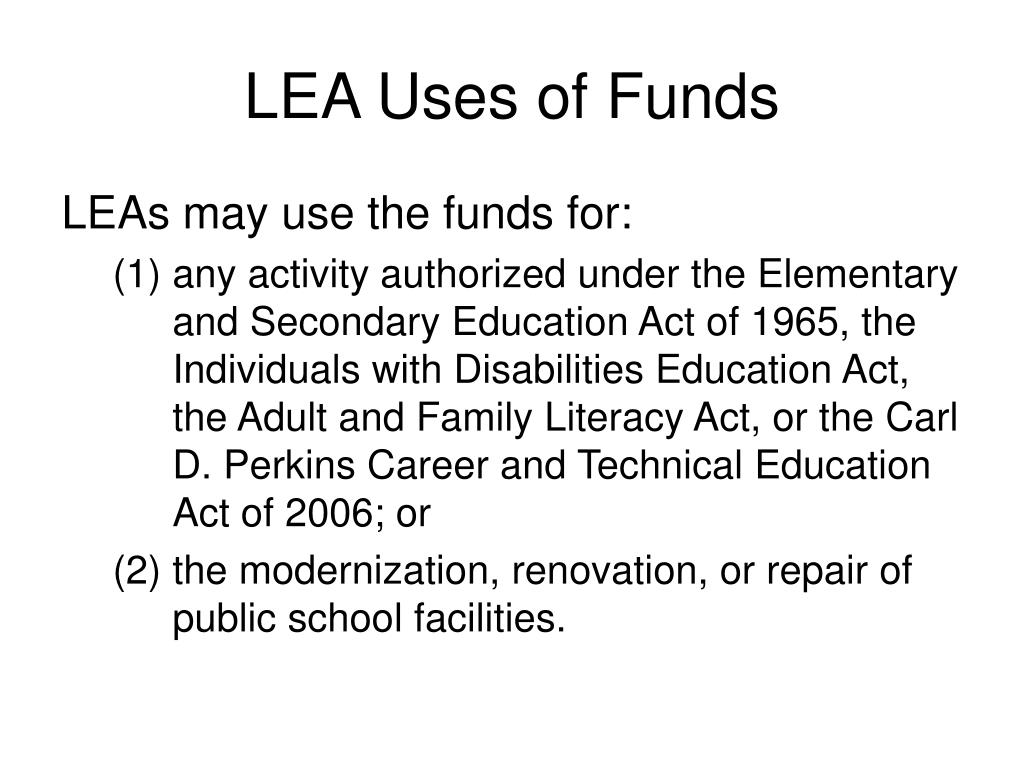 LEA Uses of Funds