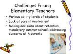 challenges facing elementary teachers