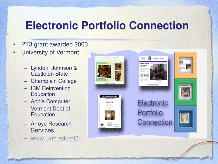 Electronic portfolio connection