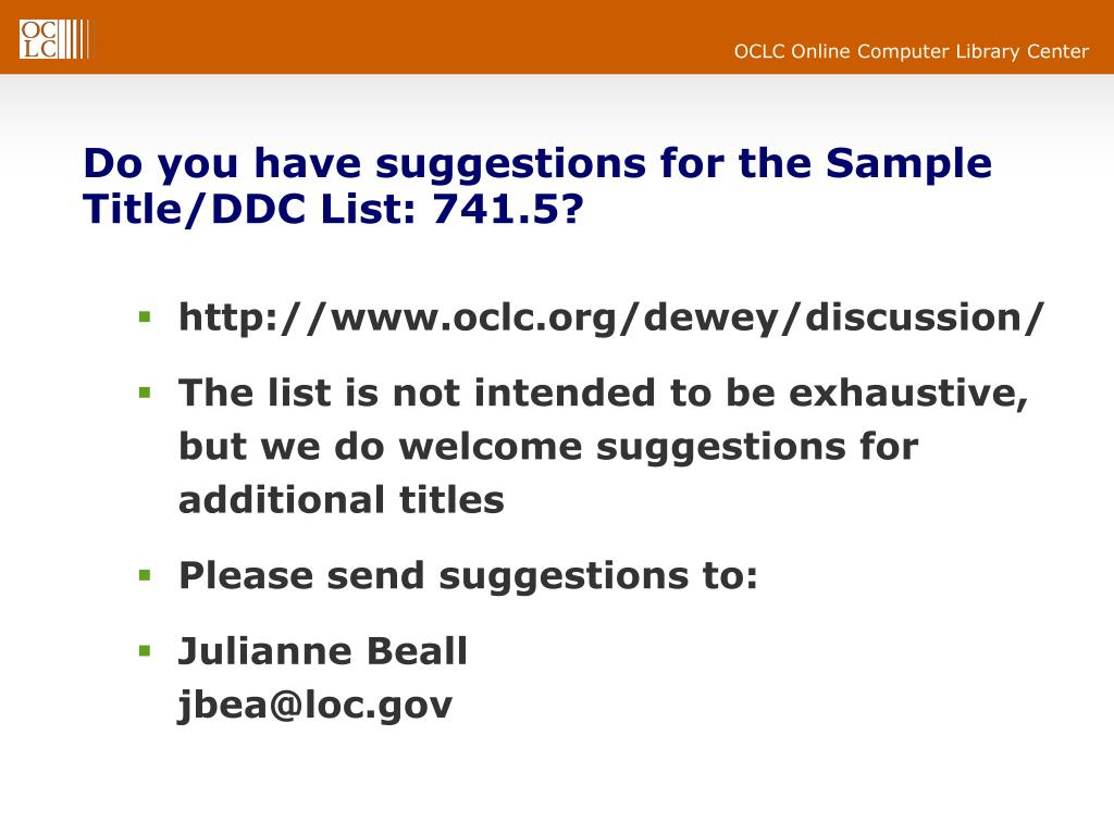 Do you have suggestions for the Sample Title/DDC List: 741.5?