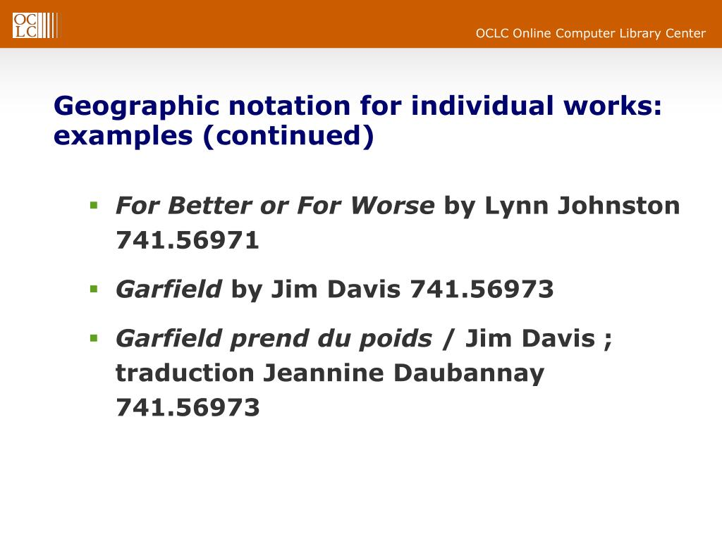 Geographic notation for individual works: examples (continued)