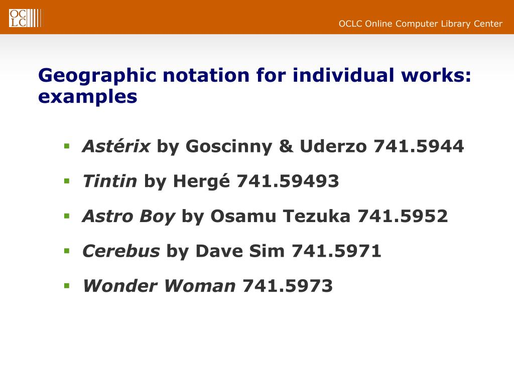 Geographic notation for individual works: examples