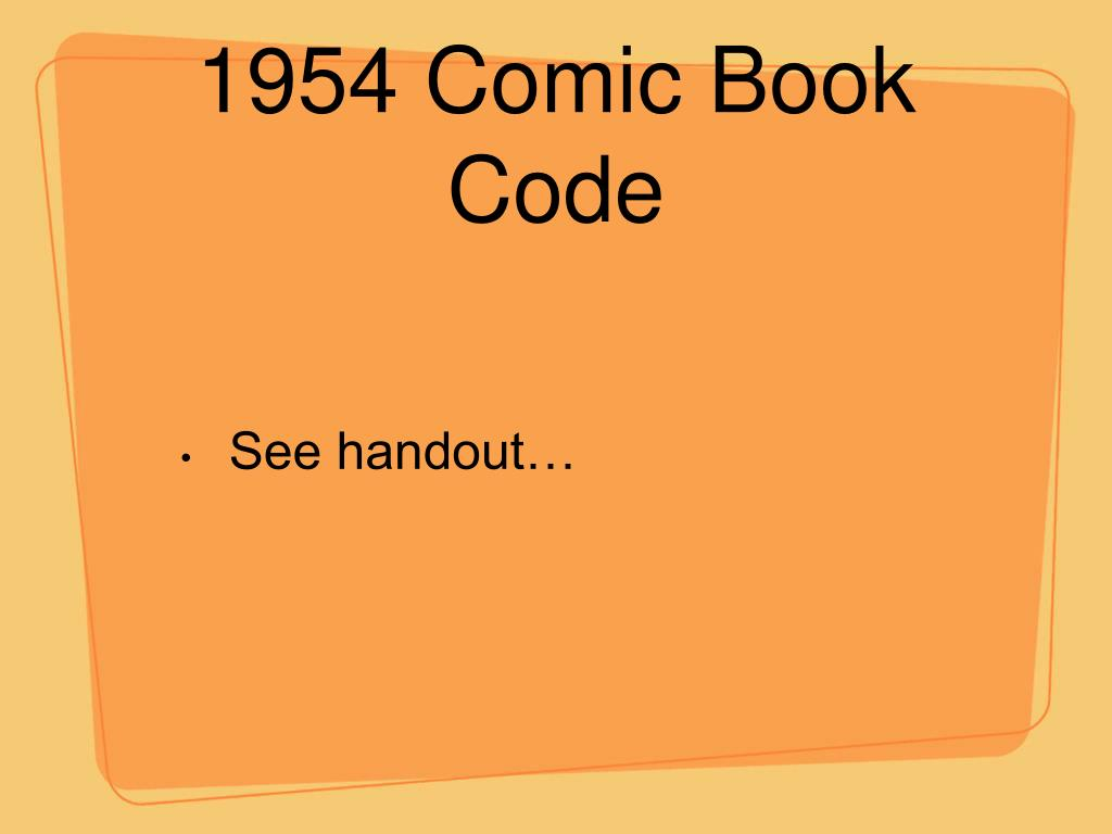 1954 Comic Book Code