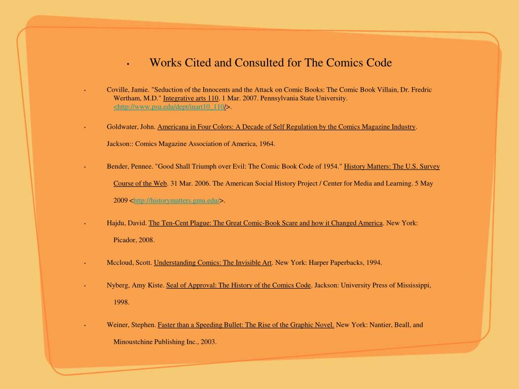 Works Cited and Consulted for The Comics Code