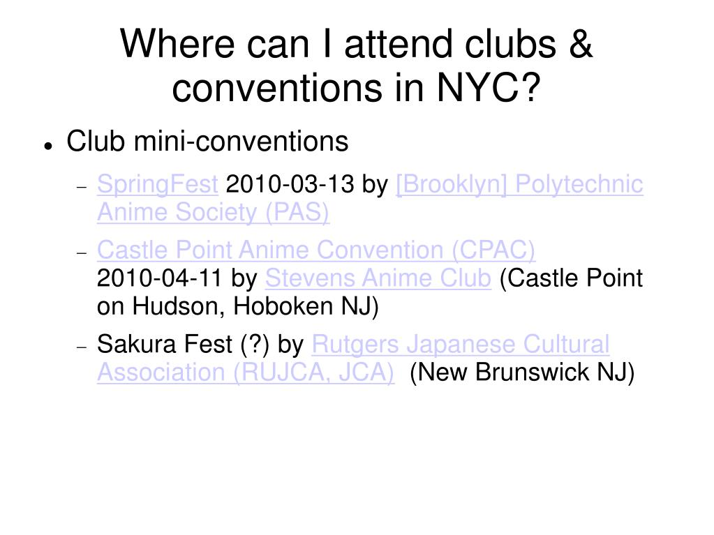 Where can I attend clubs & conventions in NYC?