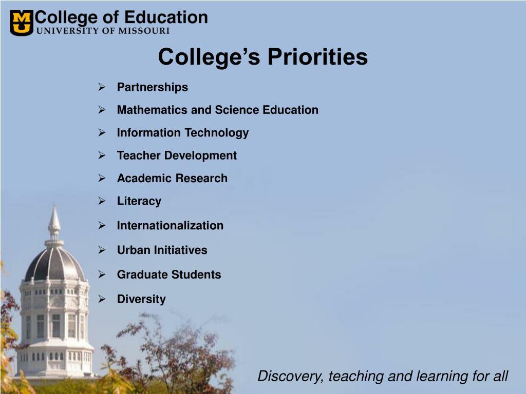 College's Priorities