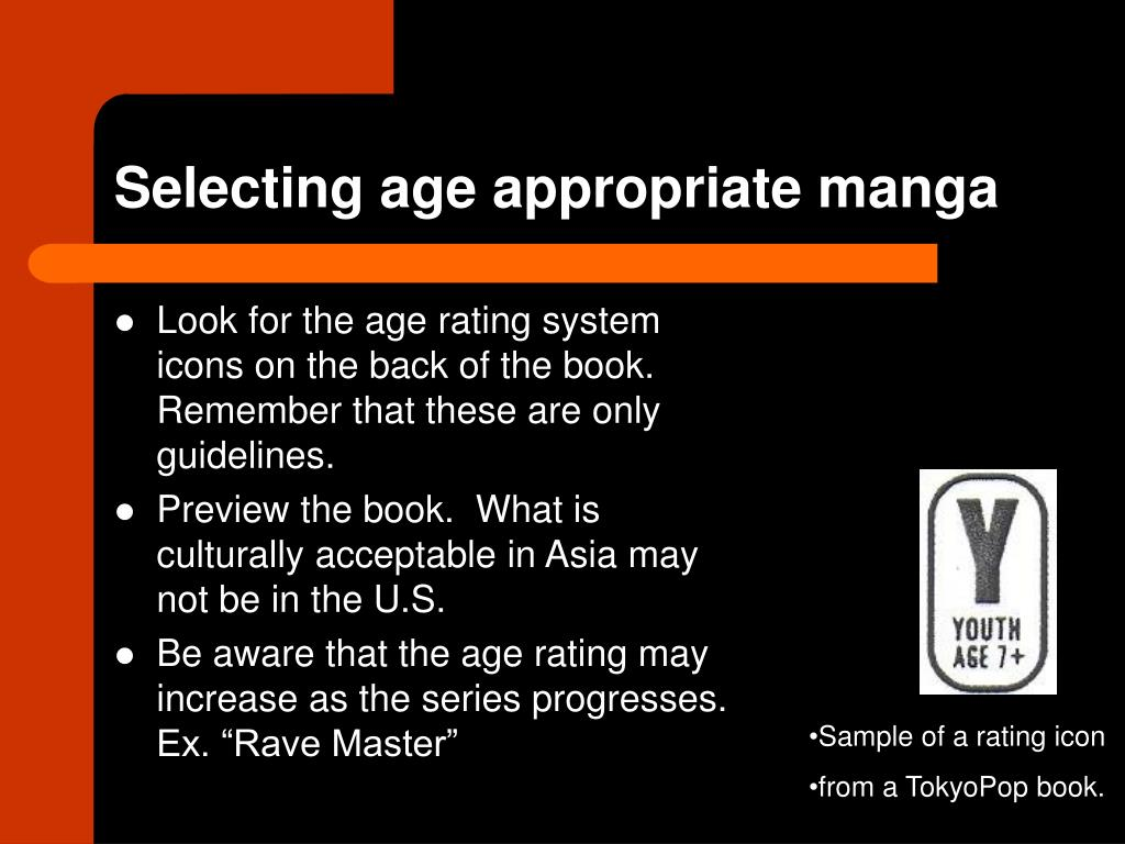 Selecting age appropriate manga
