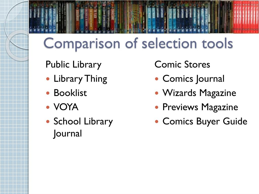 Comparison of selection tools