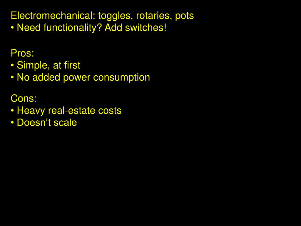 Electromechanical: toggles, rotaries, pots