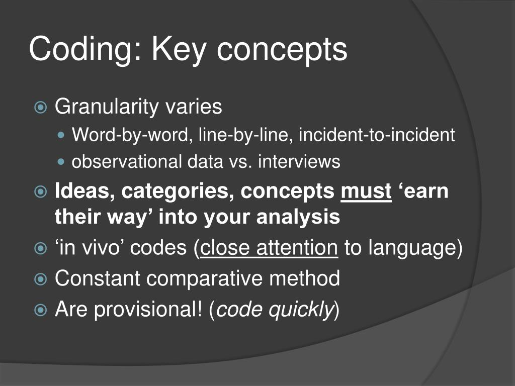 Coding: Key concepts