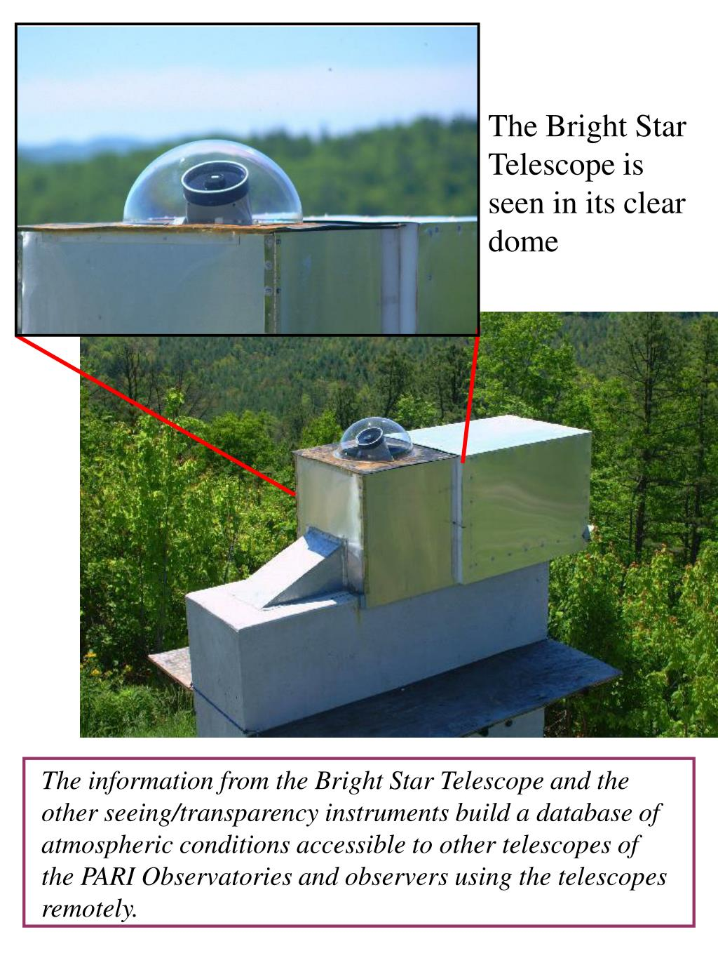 The Bright Star Telescope is seen in its clear dome