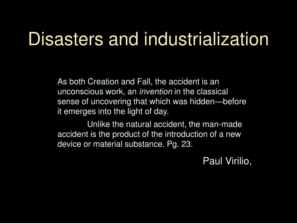Disasters and industrialization